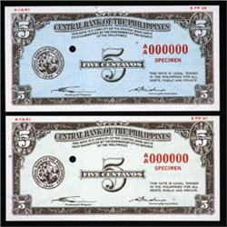 Central Bank of the Philippines Color Trial Essay Banknote Pair.