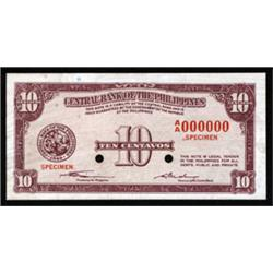 Central Bank of the Philippines Specimen Banknote.