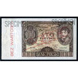 Bank Polski, 1930-32 Issue Specimen.