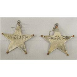 Sterling Sheriff Badge Star Pierced Earrings