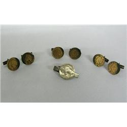 3 PR Indian Head Cent Cuff Links & Tie Clasp