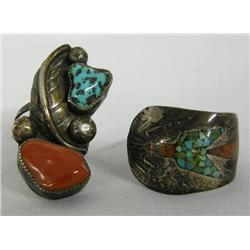 2 Vintage Navajo Silver Turquoise Coral Rings