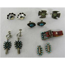 5 PR Vintage Navajo Zuni Earrings & 1 Buckle