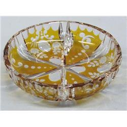 Cut Glass Cranberry Gold Bowl