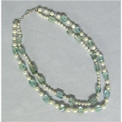 Aquamarine Fresh Water Pearl Necklace