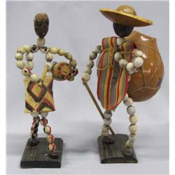 Pair of Mexican Folk Art Bead Dolls