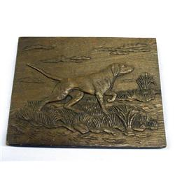 Carved Wooden Hunting Dog Plaque