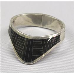 Vintage Mexican Silver Onyx Cuff Bracelet