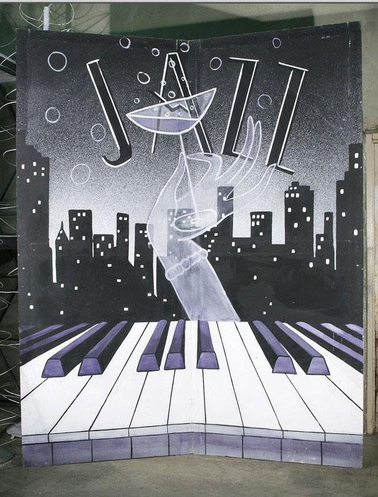 Large 10 39 foot hand painted jazz piano art deco mural for Piani art deco