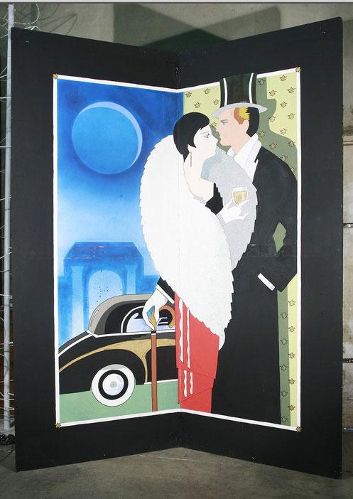 Image 1 : Large 10u0027 Foot Hand Painted Art Deco High Style Romantic Couple  Mural Part 16