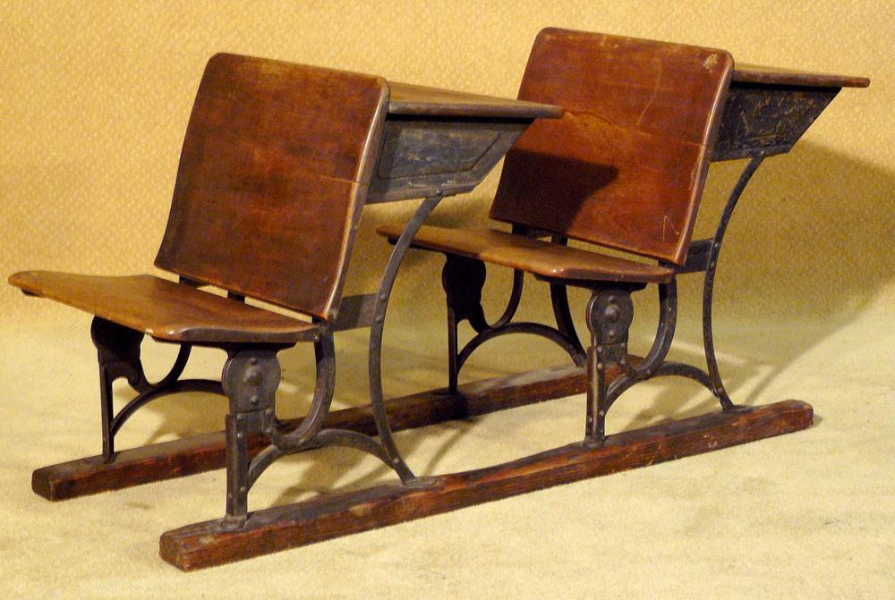 - Two Antique Wooden School Desks