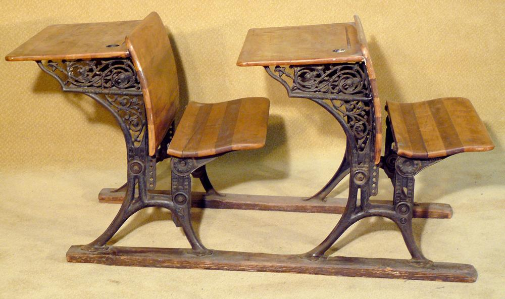 Two Antique Ornate Cast Iron School Desks. Loading zoom - Two Antique Ornate Cast Iron School Desks