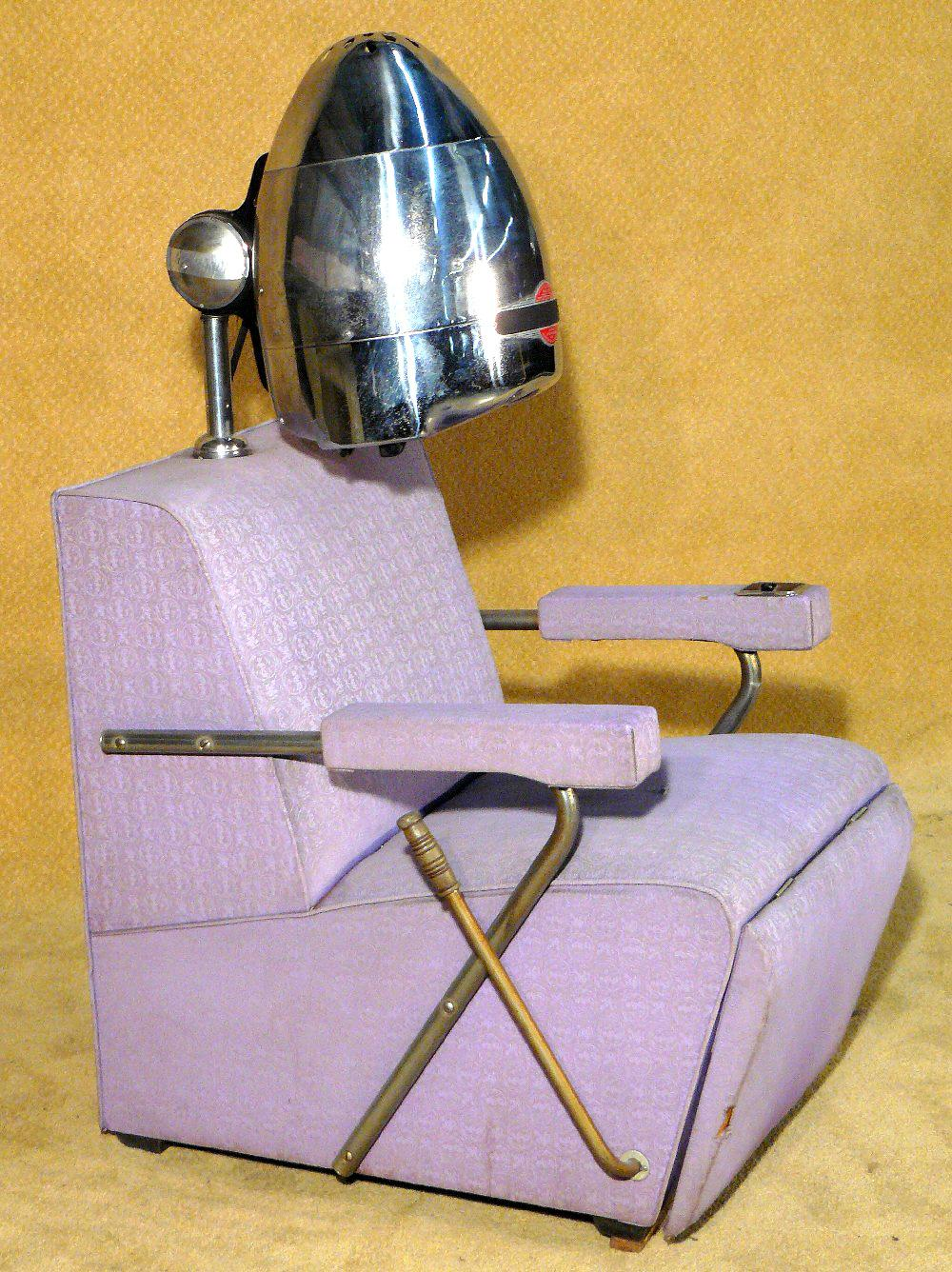 Old Hair Dryers ~ S atomic purple beauty salon chair with hair dryer
