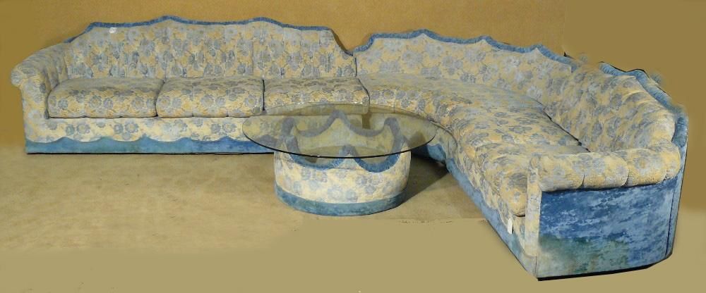 Image 1 : 1950u0027s Atomic Blue And White Sectional Sofa Floral W Table