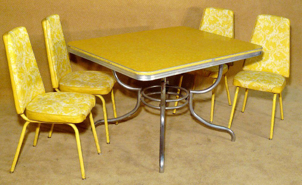 1950u0027s Retro Yellow Table With Matching 4 Dinning Chairs. Loading Zoom