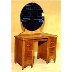 1930s Two Tone Art Deco Vanity with Round Cobalt Mirror