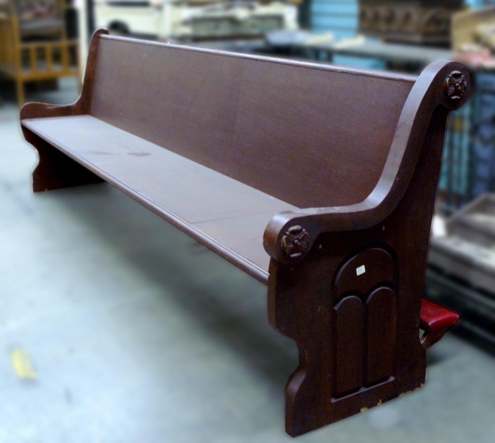 Dark Wood Gothic Style Church Pews With Knee Rest X10
