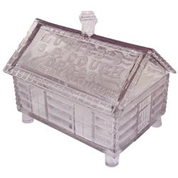 Lutted's S.P. Cough Drops counter jar, an orig glass jar shaped like log cabin w/embossed lid & base