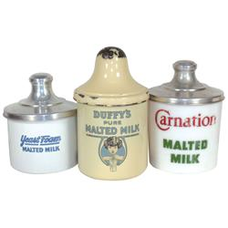 Malted milk containers (3), Duffy's porcelain (chips on base &amp; lid), Yeast Foam porcelain (roughness