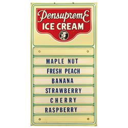 Pensupreme Ice Cream flavor board, mfgd by Permanent Sign & Display Co., Reading, PA, a litho on tin