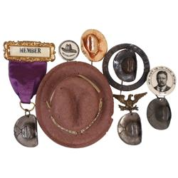 Political items (7), Theodore Roosevelt Rough Rider hats, member badge w/ribbon & metal hat, T.R. co
