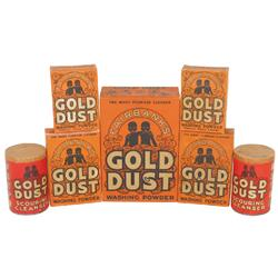 Gold Dust Washing Powder & Gold Dust Scouring Cleanser (7 pcs), all w/Black graphics, all new old st