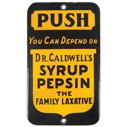 "Dr. Caldwell's Syrup Pepsin porcelain push plate, cobalt blue & yellow, Exc cond, 6.5""H x 4""W."
