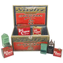 Nash's Japan Tea counter display box, (4) Log Cabin Syrup tins, Walnut Fruit & Grocery Co.-Walnut, I
