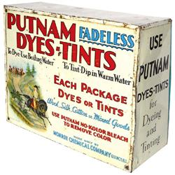 Putnam Dye counter display, larger size, art on both sides, front door has some dents, o/wise Good c