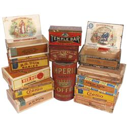 Tobacco tins, coffee tins & cigar boxes (13): Imperio Brand Coffee 3 lb tin, Temple Bar Tobacco & Un