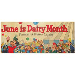 June is Dairy Month paper litho w/Mickey Mouse graphics, copyright Walt Disney Productions, c.1955,