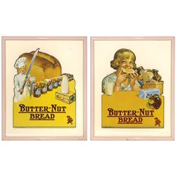 "Butter-Nut Bread diecut cdbd signs (2), both w/colorful graphics, framed, Exc cond, 18""H x 15""W."