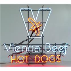 "Neon sign for Vienna Beef, blue & red neon, VG working cond, 19""H x 20""W."