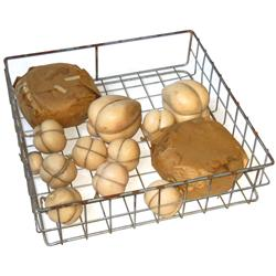 """General store wire racks w/wax cheese & meat sample displays (12), all in Good cond, racks are 24""""Sq"""