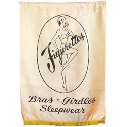 "Store banner for Figurettes Bras, Girdles & Sleepwear, fabric, c.1940s, VG cond, 50""H x 34""L."