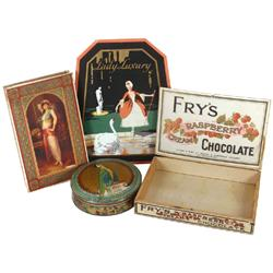 Candy items & perfume sign (4 pcs): c.1910 Lady chocolate box, c.1920 Fry's Raspberry Chocolate box,