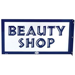 Beauty shop 2-sided porcelain flange sign, mfgd by William Marvy Co, St. Paul, Exc cond both sides,