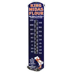King Midas Flour porcelain thermometer from King Midas Flour Mills, Minn, MN, Good cond w/significan