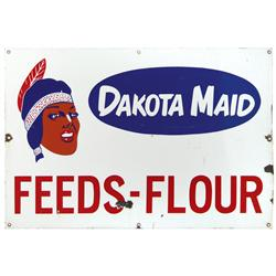 "Dakota Maid Feeds-Flour porcelain sign w/Indian graphic, VG cond w/a few small losses, 24""H x 36""W."
