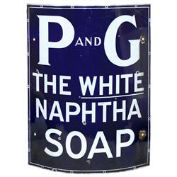 "P and G Naphtha Soap curved porcelain sign, cobalt blue & white, VG cond w/some smaller chips, 24""H"