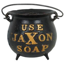Jaxon Soap string holder, cast iron w/raised advertising, holds ball of string, dispenses string thr