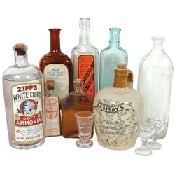 Medicine bottles, etc. (11): Ramsay's Superior Scotch Malt Whiskey jug, Zipp's White Cloud Soft Ammo