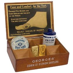 Foot care products (5): George's c.1920 Corn and Bunion Shields wood display box, Nyal Eas'em foot p