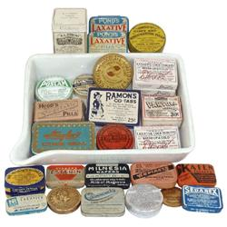 Medicine Items (29): Boots ceramic pill tray, Partola, Weeks Laxative Cold Pills, Hoods Vegetable Pi