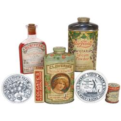 Talcum powder & dental Items (7): Cloverine Borated Talcum, Air-Float Wistaria, c.1910 Rubifoam Liqu
