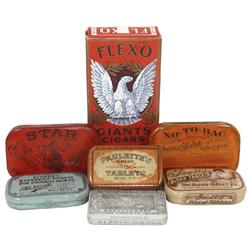 Medicine & tobacco tins & boxes (7): 1890's Star Chewing Tobacco flat pocket tin, Flexo Giants cigar