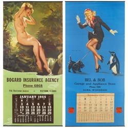 Nude & Elvgren calendars (2), from Bogard Ins Agency-Mattoon, IL, c.1955 & Bel & Bobs Phillips 66 -A