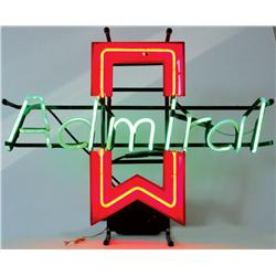 "Admiral appliances neon sign, VG working cond, 20""H x 26""W."