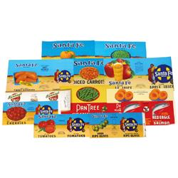 Fruit & vegetable labels (2600 total), 200 of 13 different Sante Fe, Red Eagle, Pan Tree & Ranney's