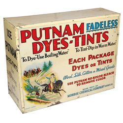 Putnam Dyes cabinet, colorful litho on tin w/adv on front & both sides, no back door, o/wise Good to